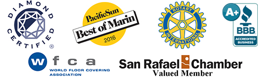 Diamond Certified | Pacific Sun Best of Marin | Rotary International | Better Business Bureau | World Floor Covering Association | San Rafael Chamber Valued Member
